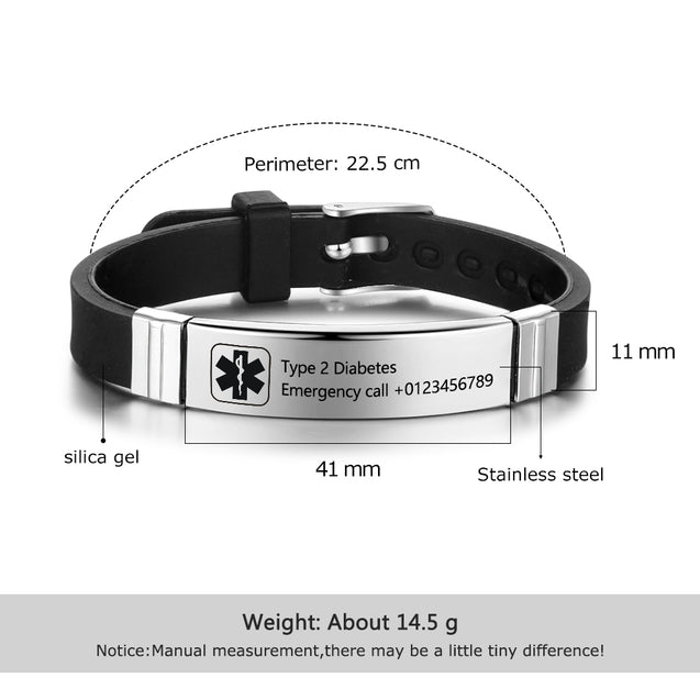Medical Alert Bracelet for Men Women Kids Ajustable Engravable Emergency ID Wristband Black