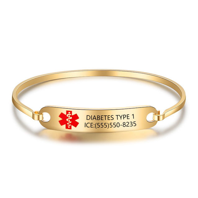 Medical Alert ID Bracelets for Women kids Bangle Bracelets stainless steel