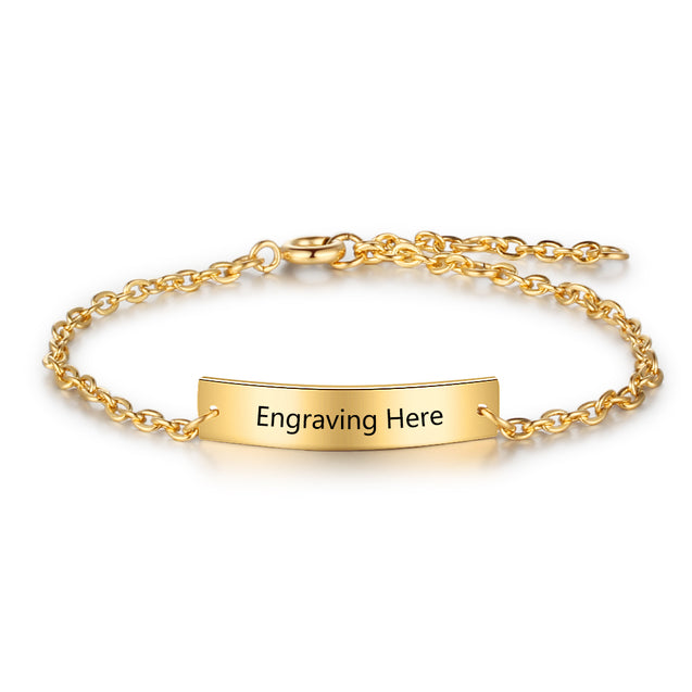 Stainless Steel Bracelet Engraving Personal Bracelet Gold Plated Adjustable Customized For Women