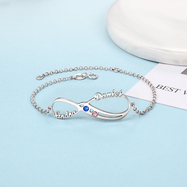Infinity Love Bracelet With 2 Birthstones Custom 2 Names Personalized Name Bracelets Sterling Silver