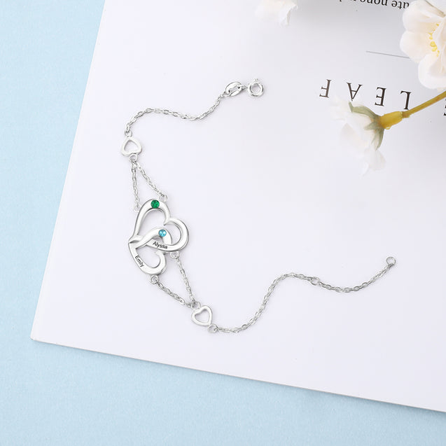Heart Interlocking Bracelet with 2 Birthstones Engraved Names Personalized Bracelets