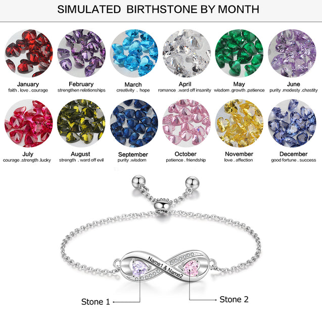 birthstone bracelet Adjustable silver gift for mother