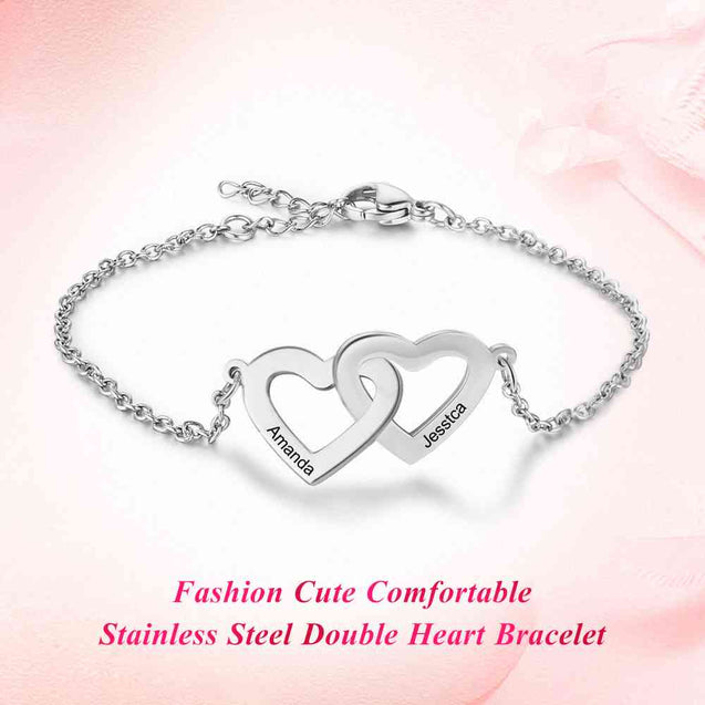 Stainless Steel Bracelet 2 Heart Matching Engraving Personal Bracelet Adjustable Gift For Women Silver Gold Plated