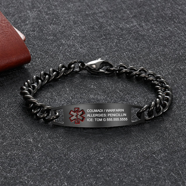 Engraving Medical Alert Bracelet Women Men Stainless Steel Chain Bracelet Waterproof Personalized Emergency ID Bracelet
