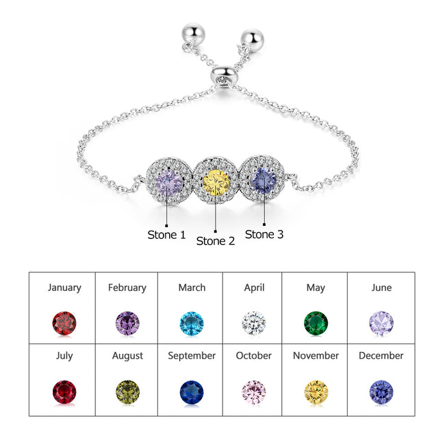 Birthstone Bracelets For Mom Persoanlized with 3 Birthstone Custom Ajustable Bracelets