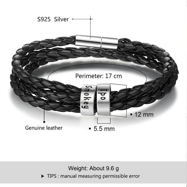 Leather Braided Bracelet for Men Personalized Custom Names Multi-Layer Bracelet Black