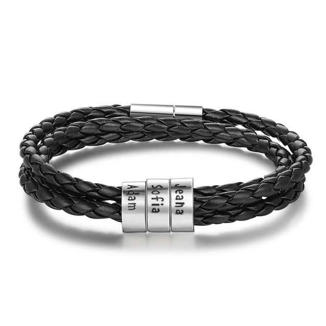 Mens Leather Bracelet Personalized Leather Braided Bracelet with 3 names