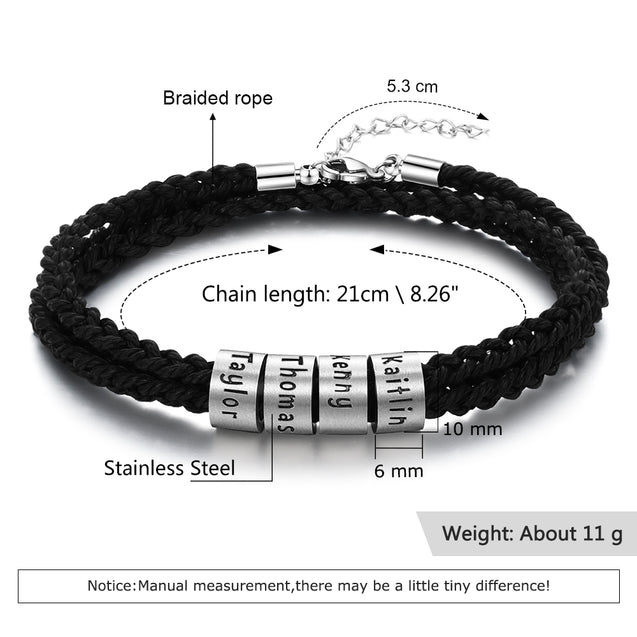 Mens Leather Braided Bracelet with 4 Sterling Silver Beads Engarved 4 Names Personalized Bracelet Black