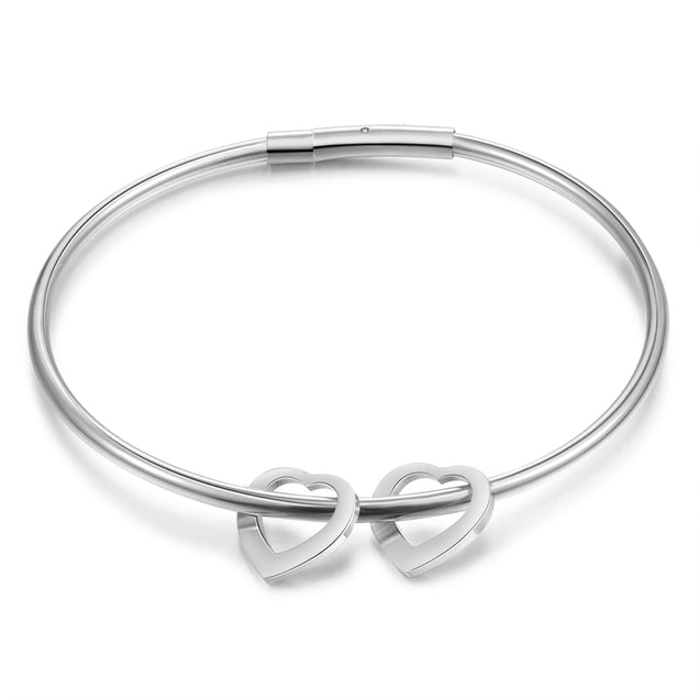 Engraved Bangle Bracelet with 2 Heart Pendant Gift for Mother Love Bracelet