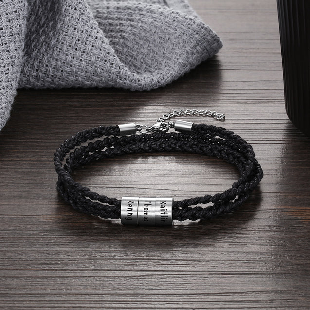 Personalized Leather Braided Bracelet for Men Custom 3 Names 3 Beads Multi-Layer Bracelet Black