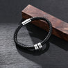 Men Leather Braided Rope Bracelet with 2 Custom Beads Sterling Silver Engravable Black Bracelet for Men