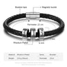 Men Leather Braided Rope Bracelet with 3 Custom Beads Sterling Silver Engravable Black Bracelet for Men