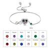 Infinity Love Heart Photo Bracelet with Birthstone Personalized with Engraving