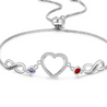 Infinity Love Heart Photo Bracelet with 2 Birthstone 2  Names Personalized Gift