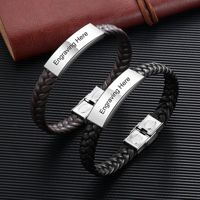 Mens Leather Bracelet Engraved Personalized ID Bracelets Black Brown