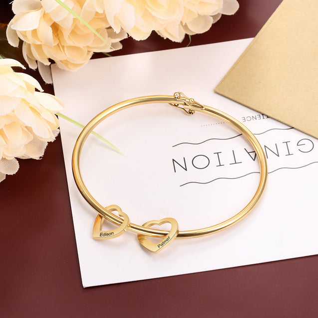 Love Bracelet with 2 Heart Pendant Engraved Bangle Bracelet Gift for Mother