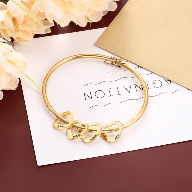 Personalized Bracelet with 4 Heart Shape Pendant Engraved 4 Names Bangle Bracelet Gift For Mom