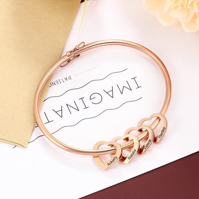 Love Bracelet Bangle Bracelet with 4 Heart Shape Pendant Engraved 4 Names Gift For Mom