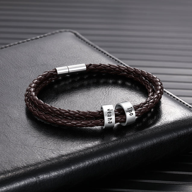 Mens Leather Bracelet with 2 Sterling Silver Beads Leather Braided Bracelet for Men Multi-Layer Bracelet Black