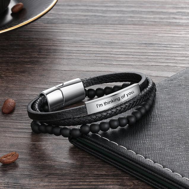 Men Multi-layer Leather Rope Bracelet with Engraving Bar Beads Custom Bracelet Black