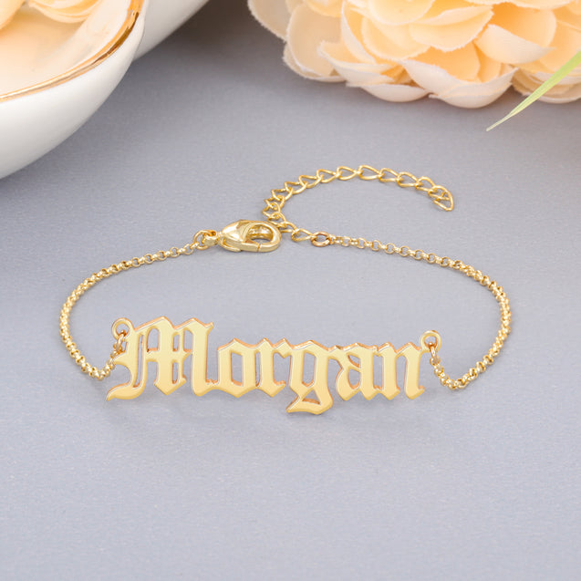 Personalized Name Bracelets Gold Old English Name Bracelets