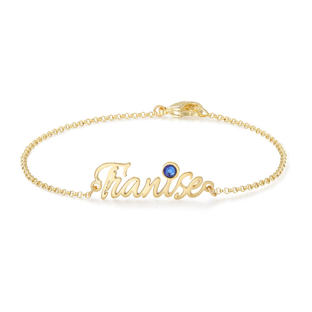 Personalized Name Bracelets Custom with Birthstone Gift For Her