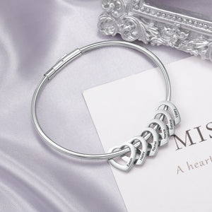 Bangle Bracelet Personalized with 6 Heart Shape Pendant Engraved 6 Names