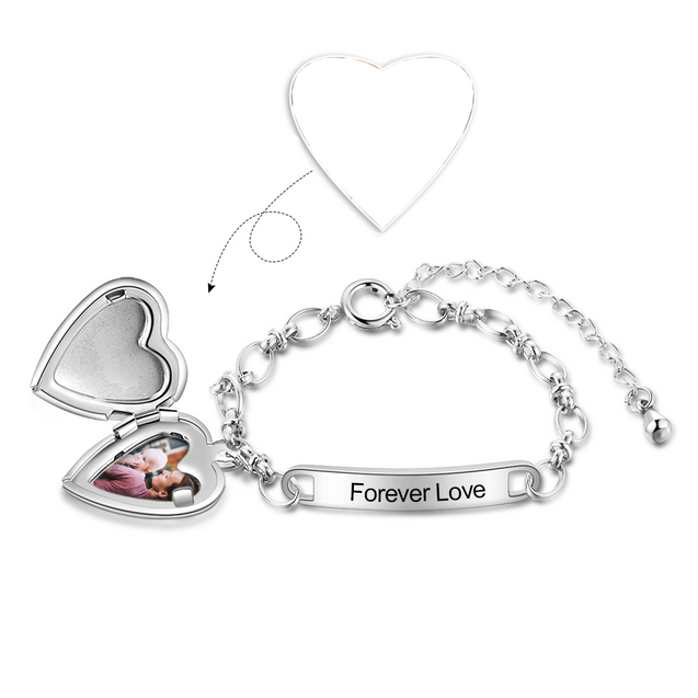 Custom Bracelets with Heart Photo Locket Personalized with Engraving