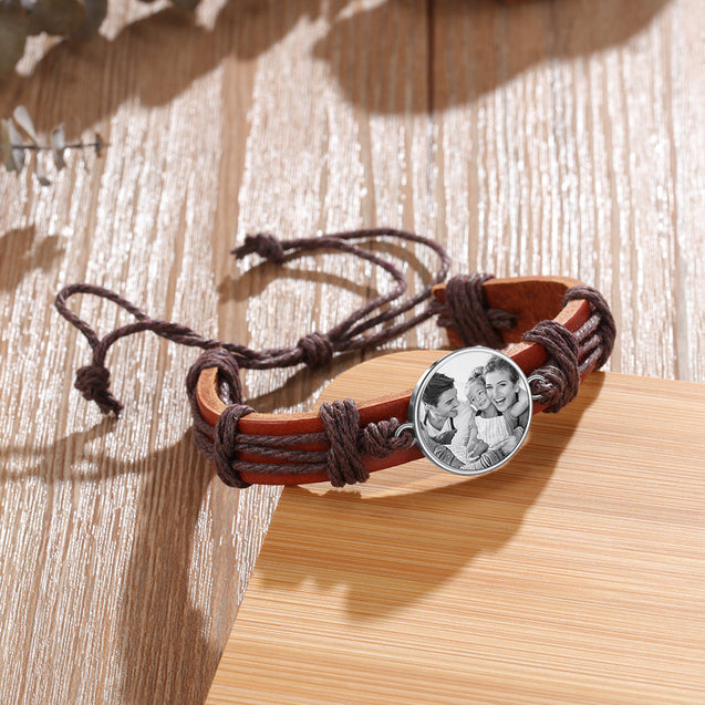 Photo Engraved Men Leather Strap Bracelet Round Photo Tag Bracelets Brown