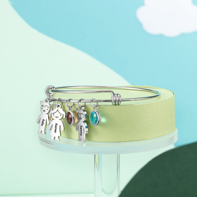 Women Bangle Bracelet with Kids Charms 3 Birthstones Engraved 3 Names