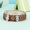 Bangle Bracelet with Kids Charms 2 Birthstone Engraved 2 Name
