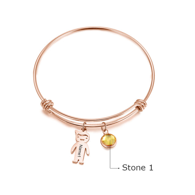 Bangle Bracelet with Kids Charms 1 Birthstone Engraved 1 Name
