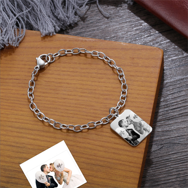 Custom Bracelet With Square Photo Pendant Personalized With Engraving