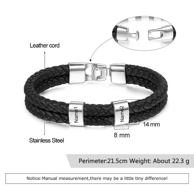 Men Leather Bracelet with Beads Engraved 2 Names Two Layers Bracelet