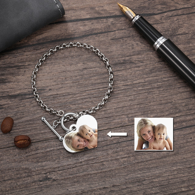 Custom Bracelets with Heart Photo Pendant Personalized with Engraving
