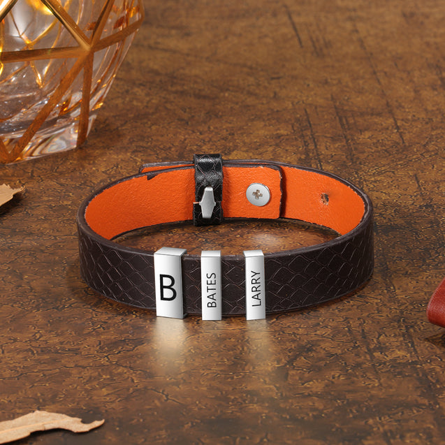 Leather Bracelet Men Engraved 3 Names Personalized Wristband Genuine Black Leather
