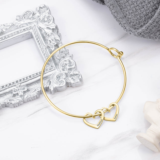 Love Bangle Bracelet with 4 Heart Shape Charms Engraved 4 Names Gift For Mom
