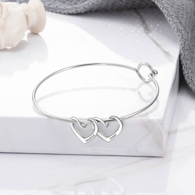 Bangle Bracelet Personalized with 5 Heart Shape charms Engraved 5 Names