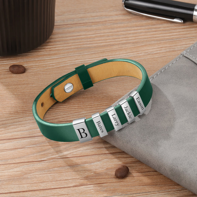 Leather Bracelet Men Engraved 5 Names Personalized Wristband Genuine Leather Brown