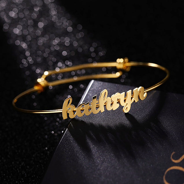 Custom Name Bangle Bracelets Personalized Name Bracelets Gold