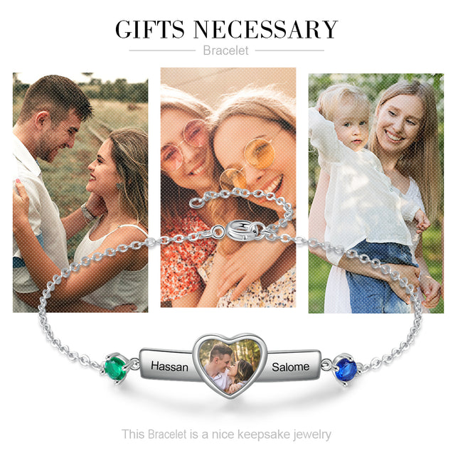 Personalized Heart Photo Bracelet With 2 Birthstones Engraved 2 Names