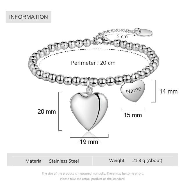 Beaded Chain Bracelet With Heart Photo Locket Personalized With Engraving Charm