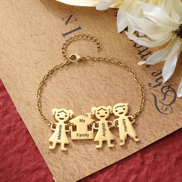 Family Bracelet with 3 Engraved Kids Charms