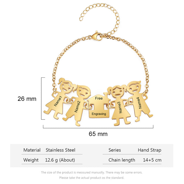 Family Bracelet with 4 Engraved Kids Charms