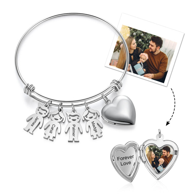 Personalized Bracelets with Heart Photo locket 4 Children Charms Engraved Names