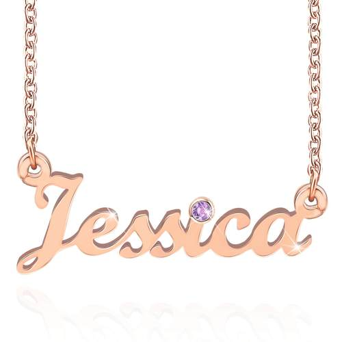 Personalized Name Necklace With Birthstone
