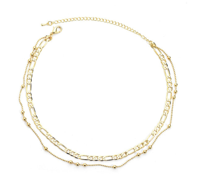 Women Fashion Double Layer Gold Chain Choker Necklace