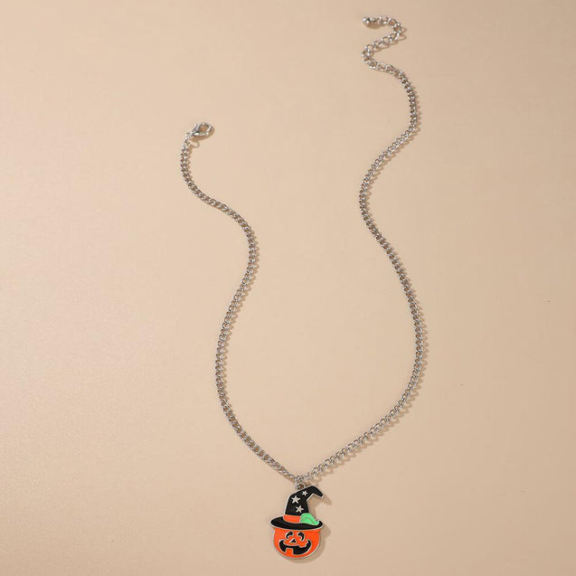 Pumpkin With Black Hat Halloween Necklace