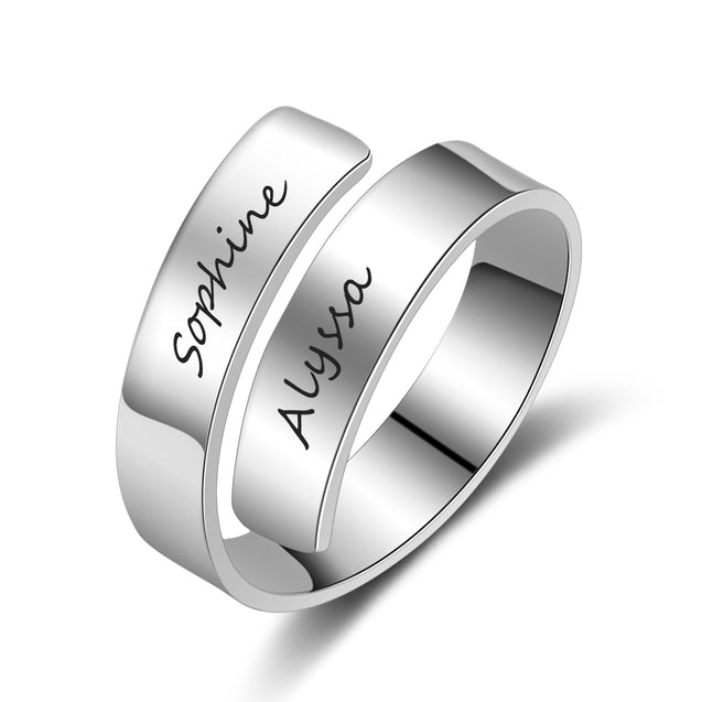 personalized ring engraved 2 name gift for women  stainless steel