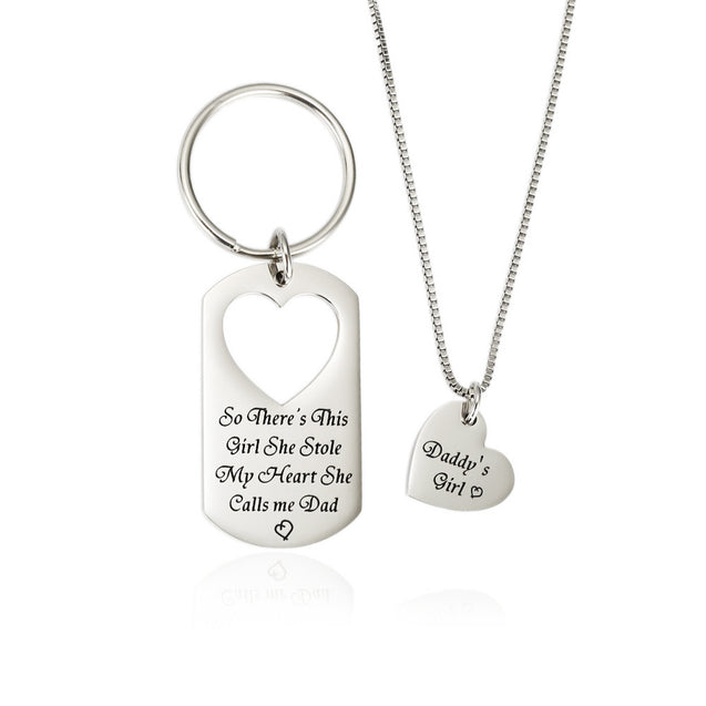 Father and Daughter Jewelry Set Personalized Key chain with Heart Matching Pendant